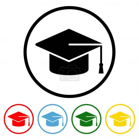Illustration for Graduation Cap Flat Icon with Color Variations. Graduation Cap icon vector illustration design element with four color variations. Vector illustration. All in a single layer. Elements for design. Graduation Cap Icon flat design. - Royalty Free Image