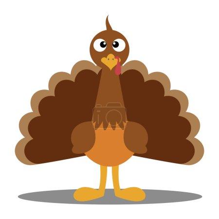 Illustration pour Joli dessin animé dinde de Thanksgiving. Illustration vectorielle d'une dinde. Dinde de Thanksgiving. Illustration d'une dinde sur fond blanc. Mascotte de Dinde Escape Cartoon caractère . - image libre de droit