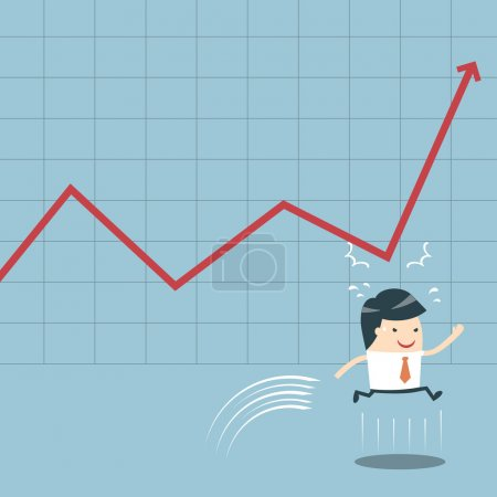 Businessman Jump and Graph