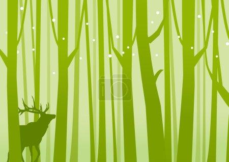 Illustration for Deer in Forest Green. Deer on a background of Forest Green. Vector illustration. - Royalty Free Image