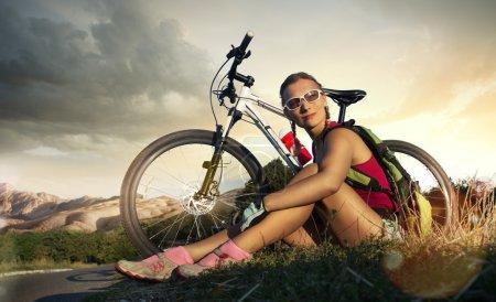 Woman with sport bike