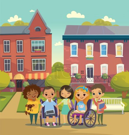 Group of Happy Children with books and tablets stand on a sunny city street. Schoolyard. Caring for the disabled child concept. Learning and playing together. Handicapped Kid. Vector. Isolated.