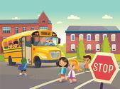 Zpátky do školy bezpečnosti. Ilustrace znázorňující školní autobusová zastávka, dítě Stravování školní autobus. Absolvování školní autobus. Děti přes silnici. Vektorové ilustrace