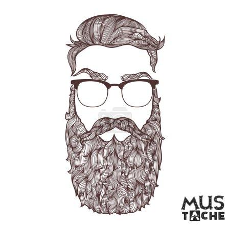 Mustache Beard and Hair Style.