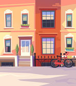 Sunny city street with a City Bicycle Basket Vector illustration