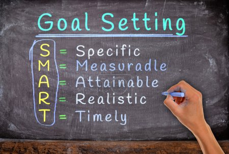 Photo for Hand writing setting goals with chalk, on blackboard. - Royalty Free Image