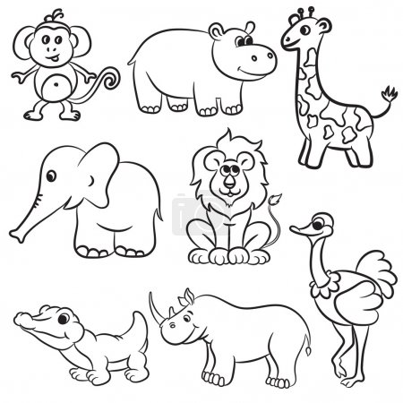 Illustration for Cute outlined zoo animals collection. Vector illustration. - Royalty Free Image
