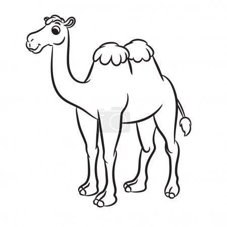 Cartoon illustration of cute camel outlined