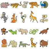 Cute zoo animals collection Vector illustration