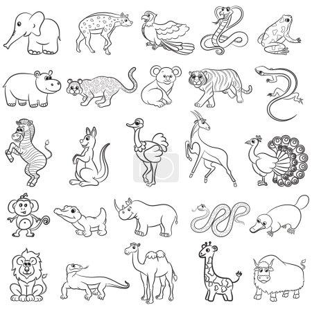 Photo pour Cute collection d'animaux de zoo. Illustration vectorielle - image libre de droit