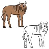 Illustration of a wildebeest
