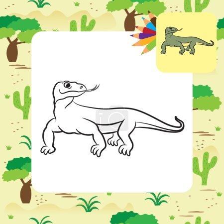 Illustration of varan (komodo dragon). Coloring book.
