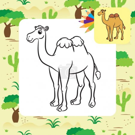 Illustration of cute camel. Coloring page