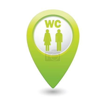 Illustration pour Pointeur de carte verte avec icône de toilettes . - image libre de droit
