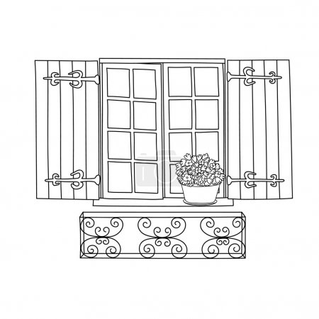 Vintage window with blooming flowers in pot