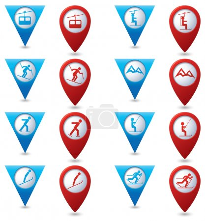 Winter sport icons set on blue and red map pointers