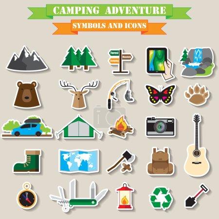 Camping jeu d'icônes