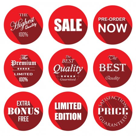 Illustration for Price tag red circle labels and stickers - Royalty Free Image