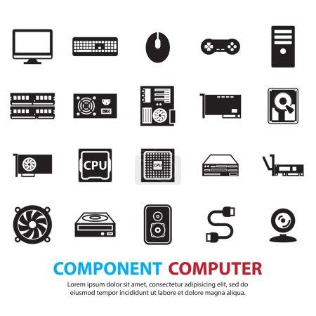 Illustration pour Matériel informatique icônes ensemble - image libre de droit