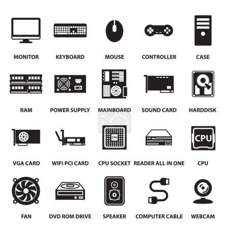 Illustration for Computer hardware icons set - Royalty Free Image