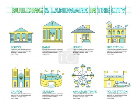 Set of Flat line icon & infographic design concept, Buildings la