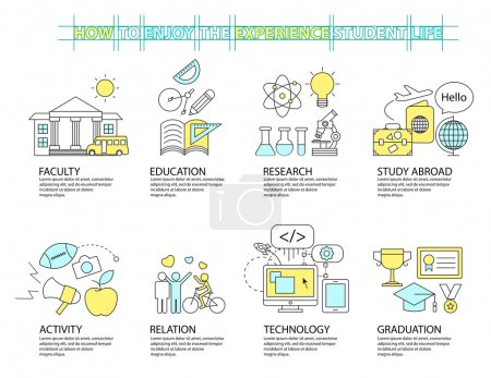 Illustration for Set of Flat line icon & infographic design concept ,education - Royalty Free Image