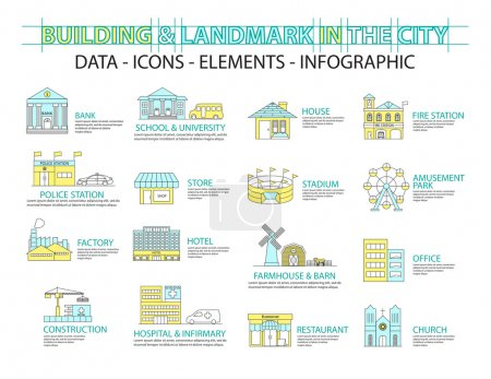 Illustration for Set of Flat line icon & infographic design concept,Buildings landmark city - Royalty Free Image