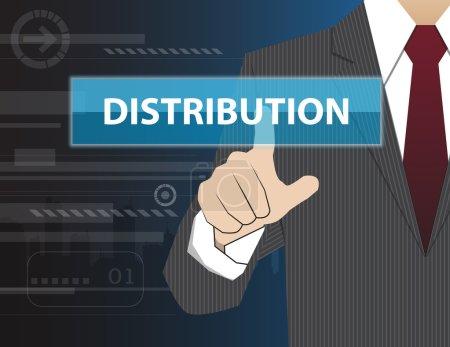 Illustration pour Homme d'affaires travaillant avec la technologie virtuelle moderne, toucher la main DISTRIBUTION - image libre de droit