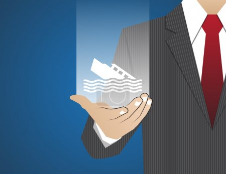 Illustration for Concept Businessman in his hands ,Insurance boat - Royalty Free Image