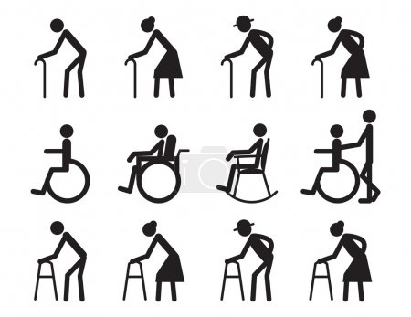 retirement, old people and patient,cripple icon set