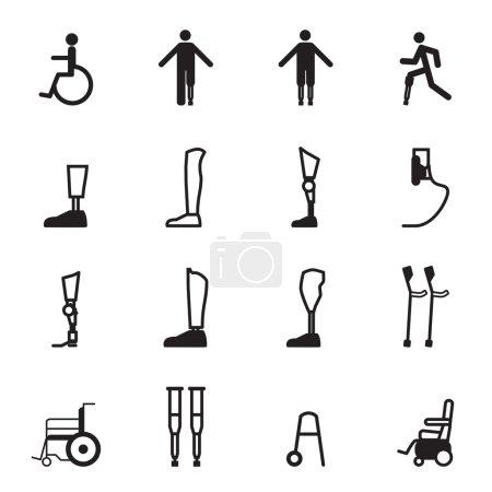 disabled prosthesis icon set