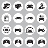 Car Sale and rental car icons set