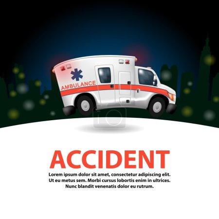 Illustration for Ambulance speeding ,vector cartoon - Royalty Free Image