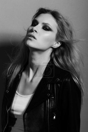 Portrait of beautiful girl rocker