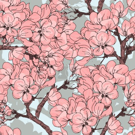 Illustration for Cherry blossom vector background. Seamless flowers pattern - Royalty Free Image