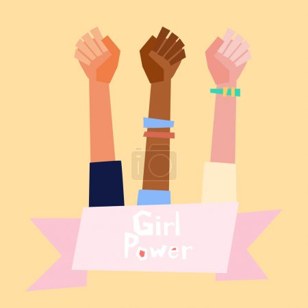 Girl power vector illustration in flat style.  Fem...