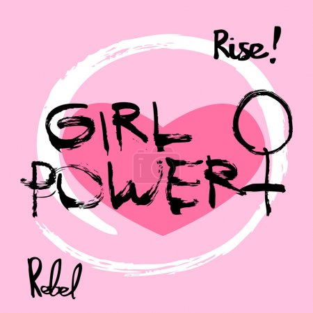 Girl power feminism symbol written in ink on pink background. T-shirt illustration concept