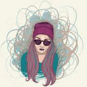 Hand drawn hipster girl with hat and sunglasses