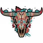 Buffalo Sugar Mexican Skull Buffalo Skull Vector illustration
