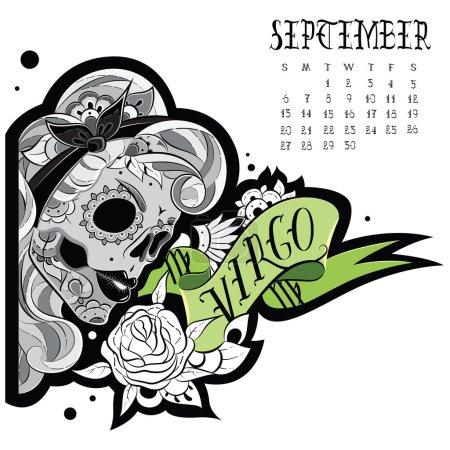 Illustration for Page astrological calendar. Virgo tattoo. Vector illustration - Royalty Free Image