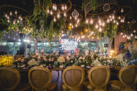 Photo for Amadeo, Cavite - Dec 2020: A stunning indoor garden wedding reception at Viridis, one of many event venues near Tagaytay, regarded as the wedding capital of the Philippines. - Royalty Free Image