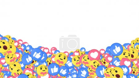 Photo for Many love, care, wow and like reaction emojis at the bottom of a white background. Positive social media and communications concept wallpaper graphic or backdrop banner.. - Royalty Free Image