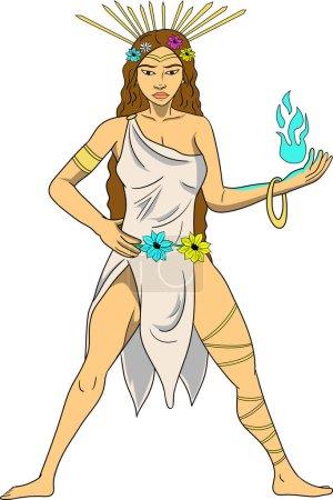 Diwata, duch, zazwyczaj mniejszy bóg lub bogini, uważa się strzec naturalnych cech, takich jak lasy. Filipińskie lub cebuano bóstwo. Rysunek w stylu kreskówki.