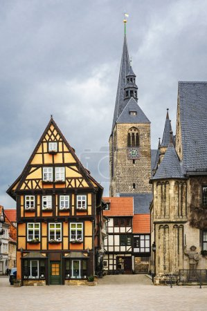 Fachwerk house on the market square of Quedlinburg, Germany