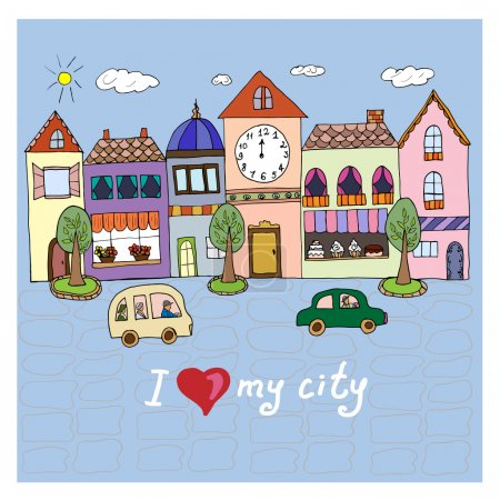I love my city.Illustration with building and cars.