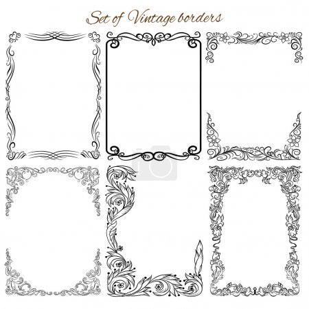 Illustration for Collection of decorative ornamental borders, frames. - Royalty Free Image