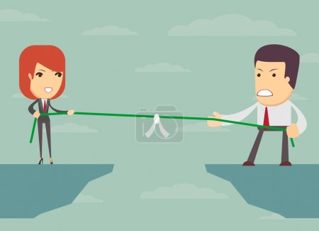 Illustration for Business people pull the rope over the abyss, someone who, business concept, vector illustration - Royalty Free Image