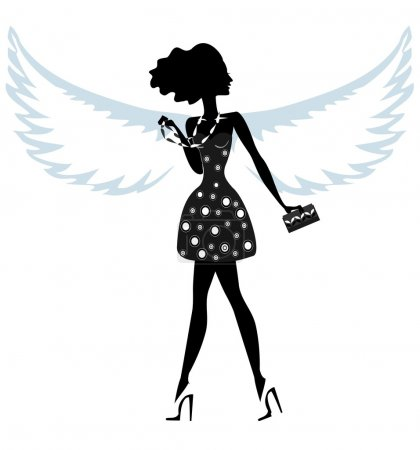 Silhouette of a Young Woman with Angel Wings