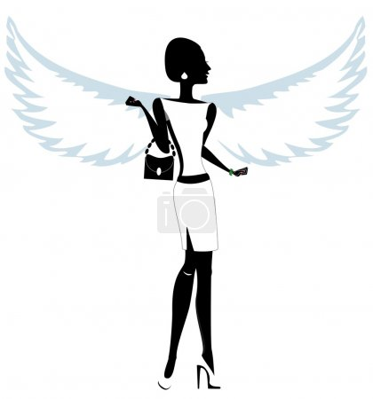 Silhouette of a Young Woman with Angel Wings. Vector. Illustration