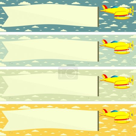 Plane with a Poster or Banner. Vector. Illustration